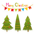 christmas trees and gifts in cartoon style vector image