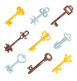 collection vintage old keys different bronze vector image