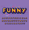 color font funny letters and numbers set playful vector image vector image