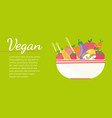 colorful vegan banner with flat vegetable icons vector image