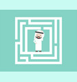 confused arab businessman in labyrinth flat vector image