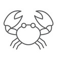 crab thin line icon animal and underwater vector image vector image