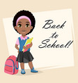cute african american girl holding books vector image vector image