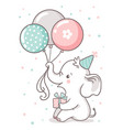 cute baby elephant sits and holds a balloon vector image