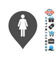 female toilet marker icon with free bonus vector image vector image