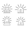 flasher siren icons set outline style vector image