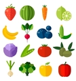 Fresh fruits and vegetables flat icons set vector image vector image