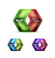 Glossy glass geometric arrow price sale web label