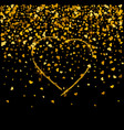 gold texture of glitter in the shape of heart on a vector image vector image