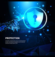 hand touch protection shield blue polygonal over vector image vector image