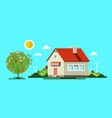 house with tree flat design nature natural scene vector image vector image
