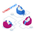 isometric cybersports competition cybersport vector image vector image