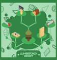 Lumberjack color isometric concept icons