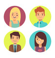 male and female happy faces avatars for chats vector image vector image