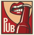 mouth opens a beer bottle vector image