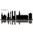 munich germany city skyline black and white vector image vector image