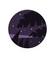 night scenery with purple starry sky and vector image