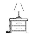 nightstand with lamp dotted silhouette on white vector image