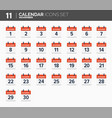 november calendar icons set date and time 2018 vector image vector image