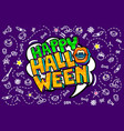 open mouth and happy halloween message vector image