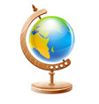 planet earth globe on wooden vector image vector image