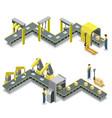 production line isometric 3d concept set vector image