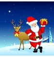 Santa with Gift for Christmas vector image