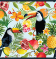 Seamless tropical fruits and toucan pattern