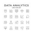 set line icons data analytics vector image vector image