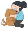 set of girl and dog vector image vector image