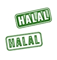 Set of realistic Halal grunge rubber stamp vector image