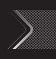 silver arrow curve with black blank square mesh vector image vector image
