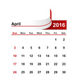 simple calendar 2016 year april month vector image vector image