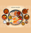 traditional andhrait cuisine and food meal thali vector image vector image