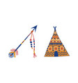 tribal ethnic elements with indian teepee vector image vector image