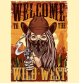 wild west colorful vintage poster vector image vector image