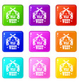 wild west revolver icons set 9 color collection vector image vector image