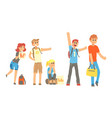 young people travelling autostop collection vector image vector image