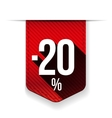 Sale twenty percent off banner red ribon vector image