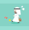 angry arab businessman walking and kick can flat vector image vector image