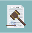 approved contract with a hammer in flat style vector image vector image