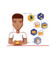 black businessman with social media icons vector image