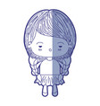 blue shading silhouette of kawaii little girl with vector image vector image
