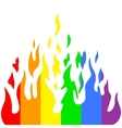Burn flame fire rainbow colors vector image