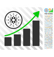 cardano growth up chart flat icon with bonus vector image vector image