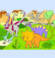 cartoon for children dinosaurs in nature vector image vector image