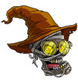 cartoon realistic scary mummy skull with hat vector image vector image