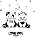 cat love vector image