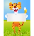Cheetah cartoon with blank sign vector image vector image