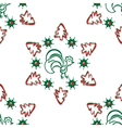 Christmas background with a rooster seamless vector image vector image